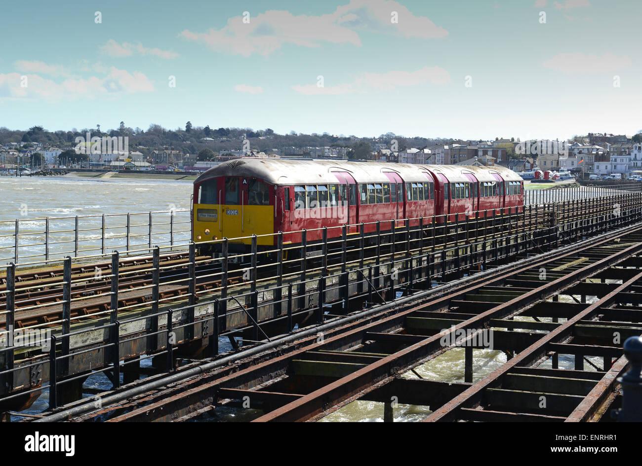 Ryde Pier railway train trains former London Underground tube train Isle of Wight - Stock Image
