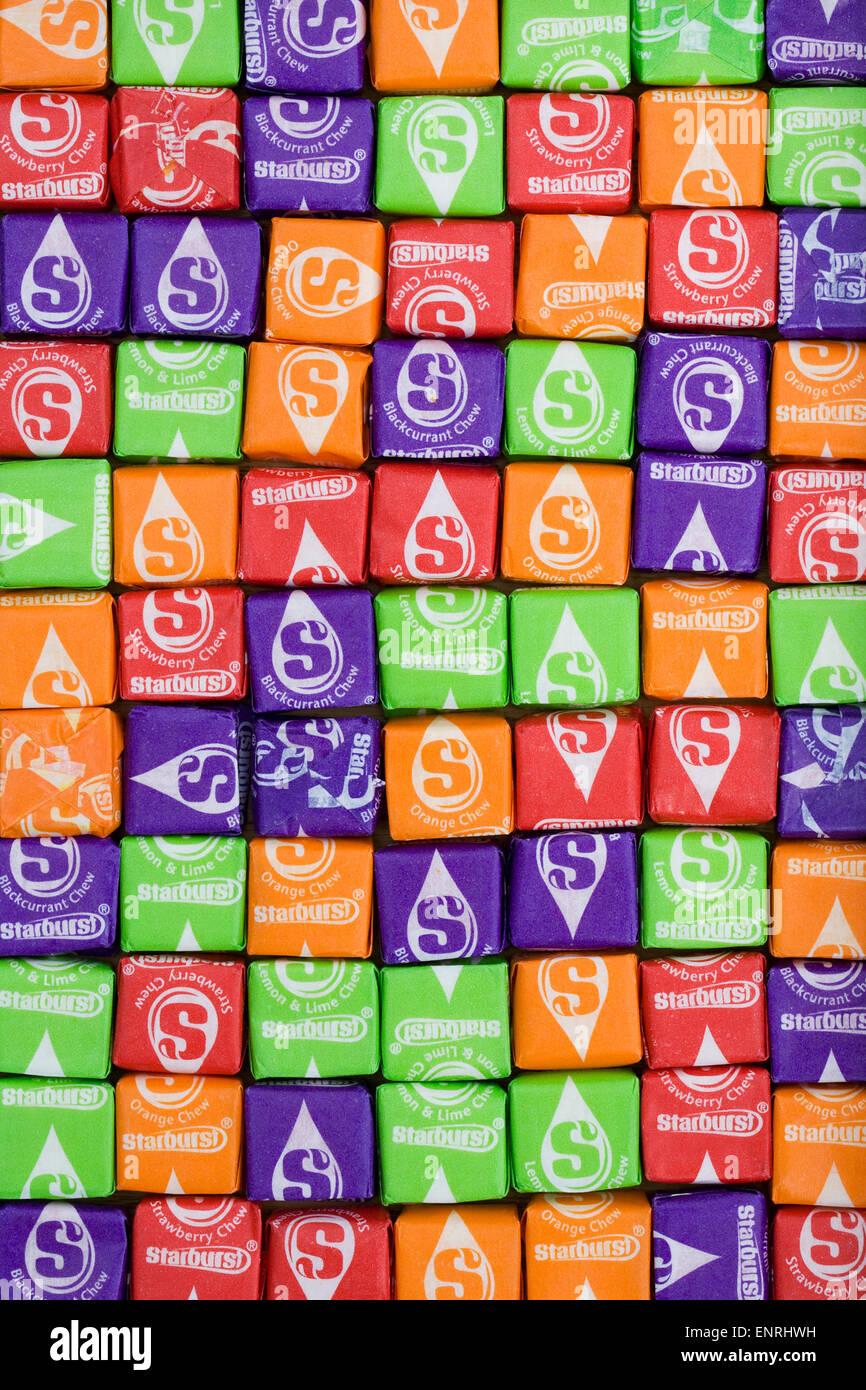 Starburst sweets pattern. - Stock Image