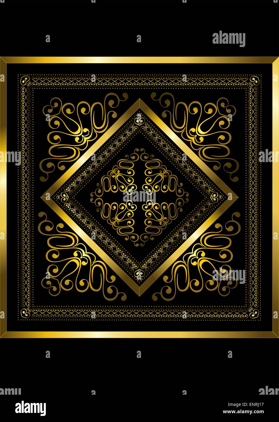 Gold frame with openwork ornament - Stock Image