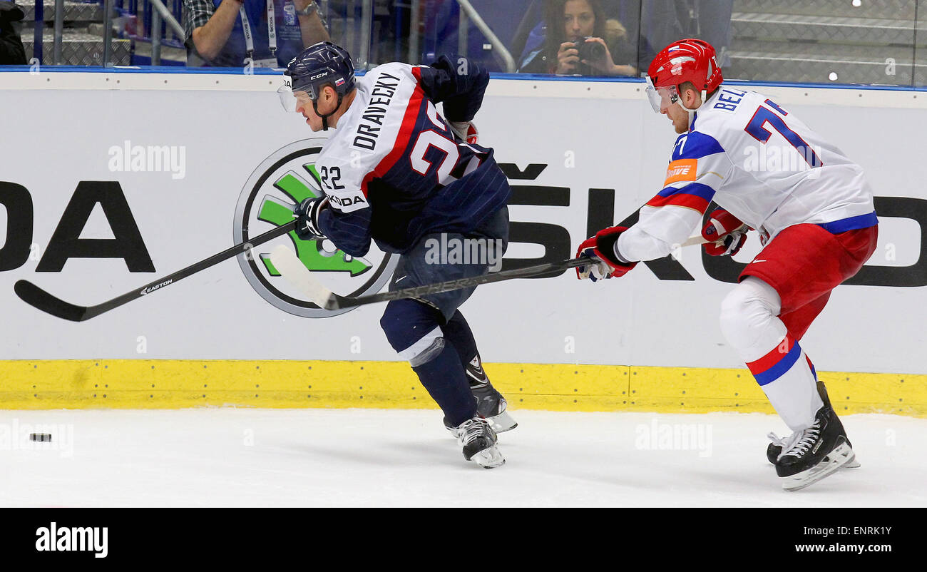 Ostrava, Czech Republic. 10th May, 2015. From left: Vladimir Dravecky (SVK) and Anton Belov (RUS) in action during Stock Photo