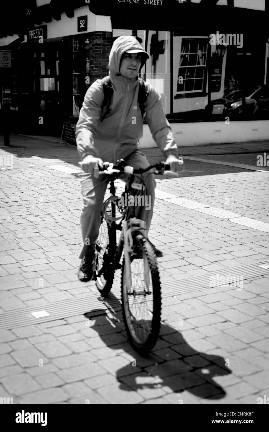 male cycling in Salisbury Wiltshire - Stock Image