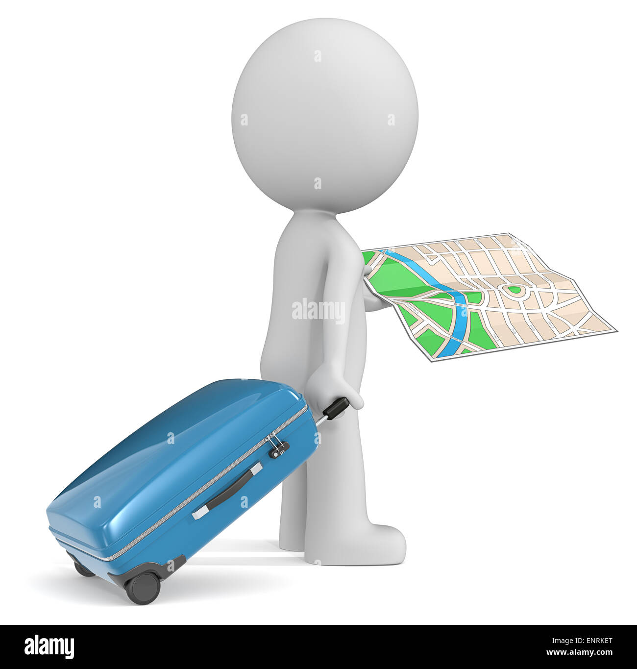The dude 3D character holding modern suitcase and city map. - Stock Image