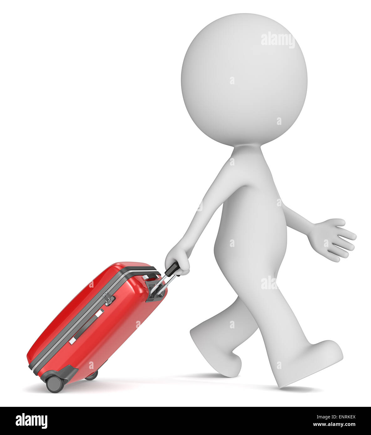 The dude 3D character walking with red modern suitcase. - Stock Image