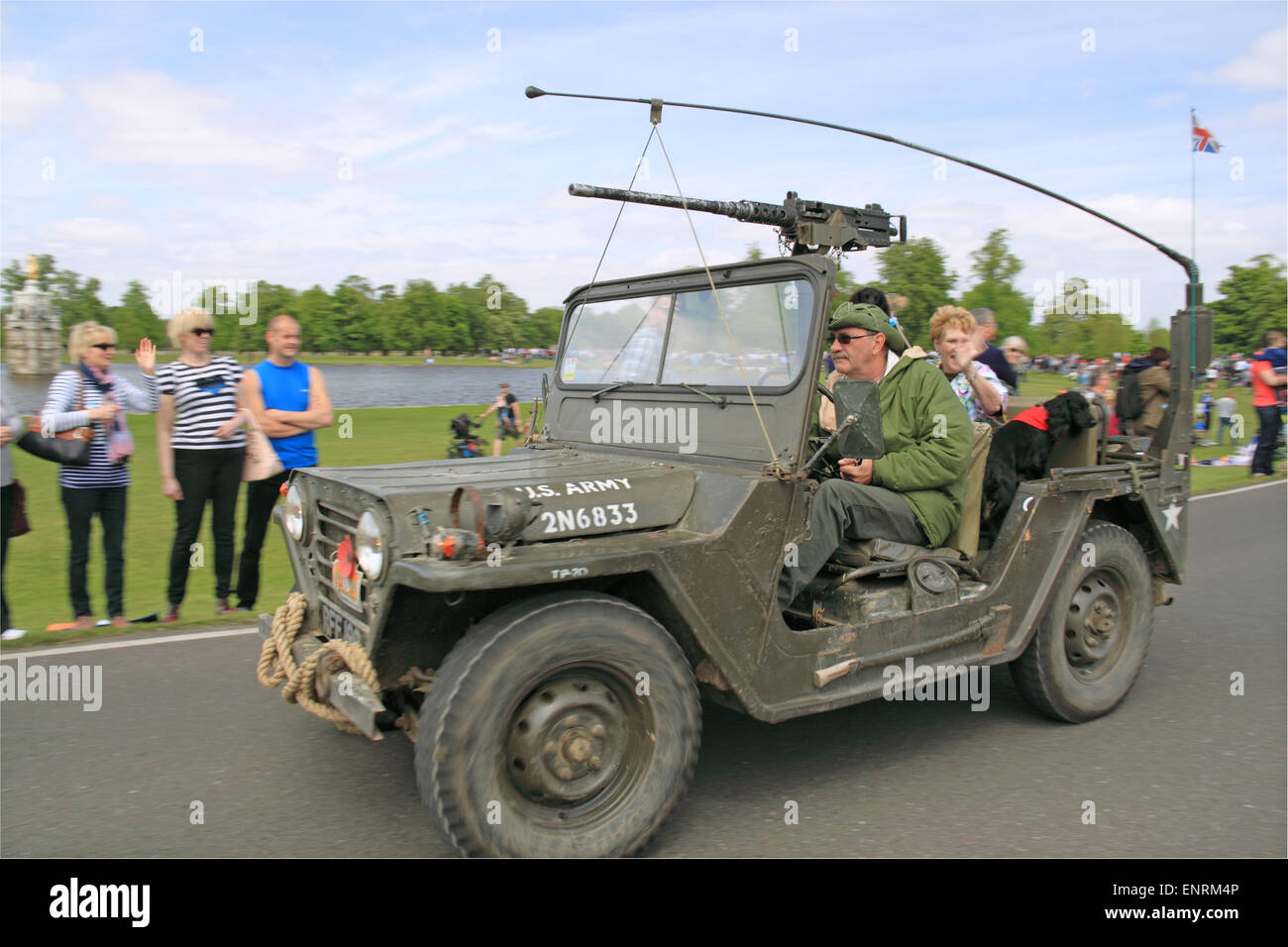 US Army Ford M151A1 MUTT (Military Utility Tactical Truck). Chestnut Sunday, 10th May 2015. Bushy Park, HamptonStock Photo