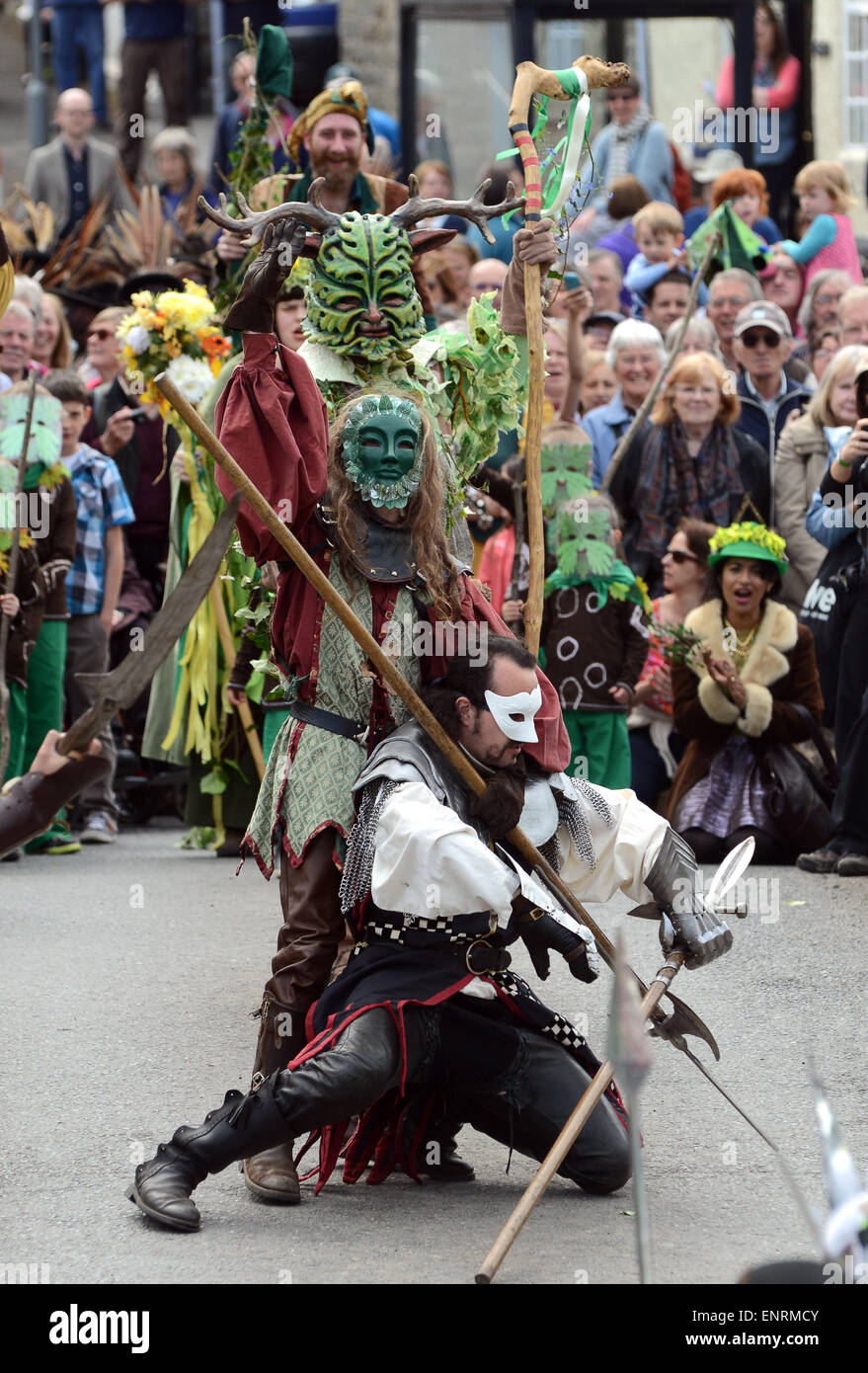 The Green Man festival at Clun in Shropshire May Day 2015 pagan festival britain uk - Stock Image