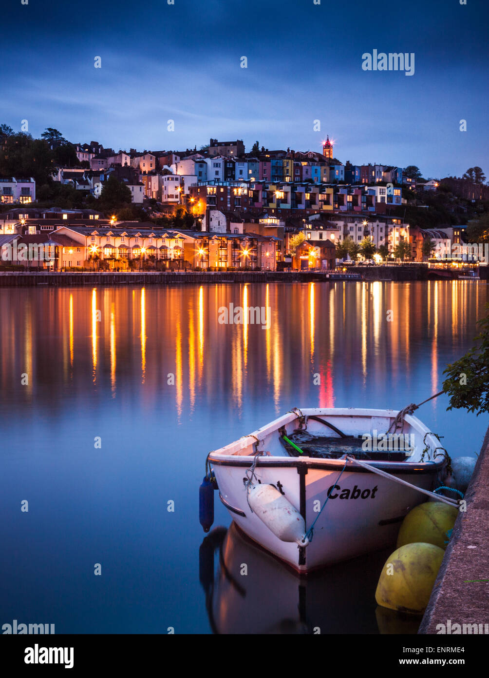 A view of Hotwells in Bristol at dusk. Cabot Tower can be seen flashing it's red lights on top of Brandon Hill - Stock Image