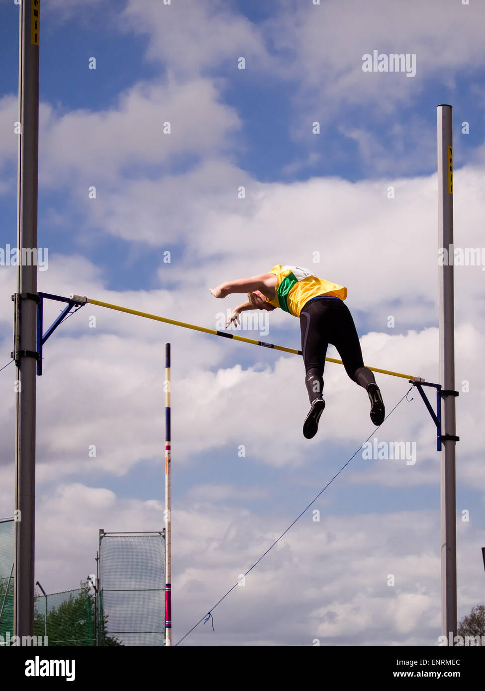 Mike Bartlett competes in the Pole Vault during the 2015 British Athletics League - Stock Image