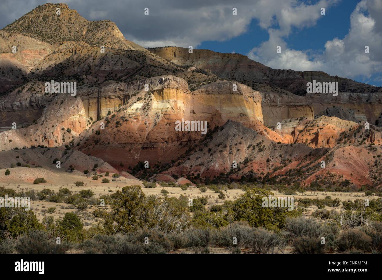 Mesozoic formations, near Abiquiu, New Mexico - Stock Image
