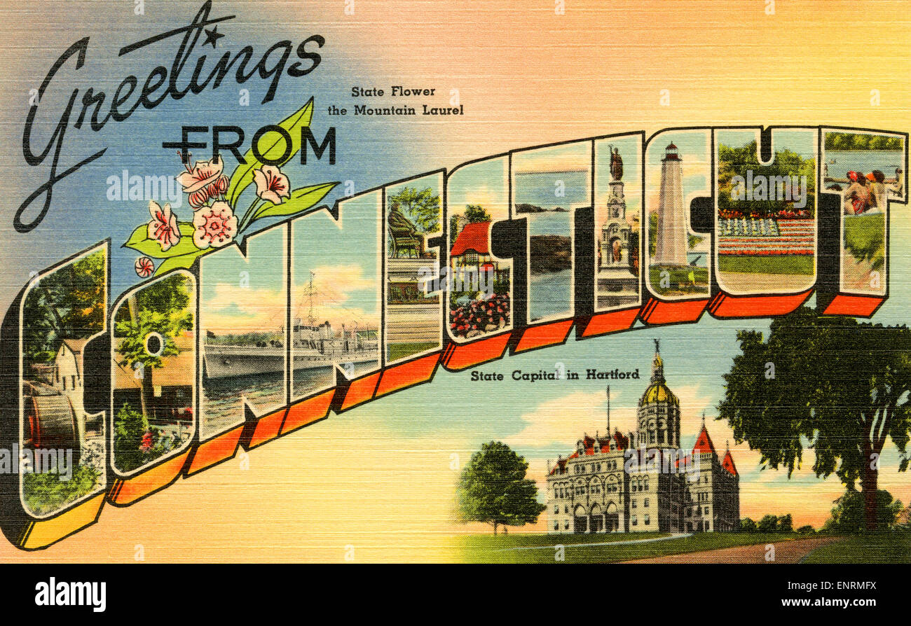 Large letter greetings from connecticut state name vintage stock large letter greetings from connecticut state name vintage postcard ca 1930s 1940s m4hsunfo