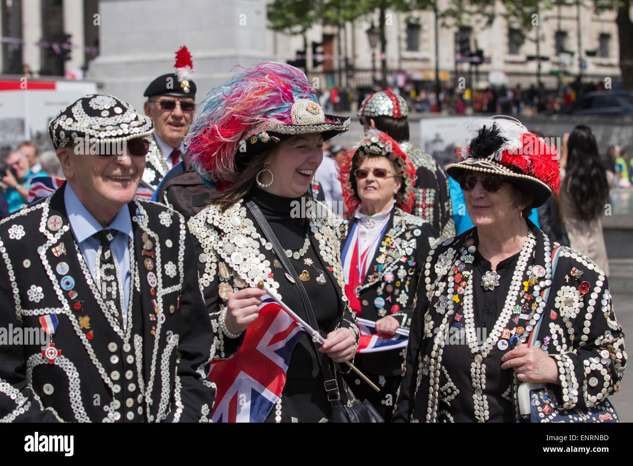 Pearly King and Queens celebrating VE 70 Day in Trafalgar Square, London - Stock Image