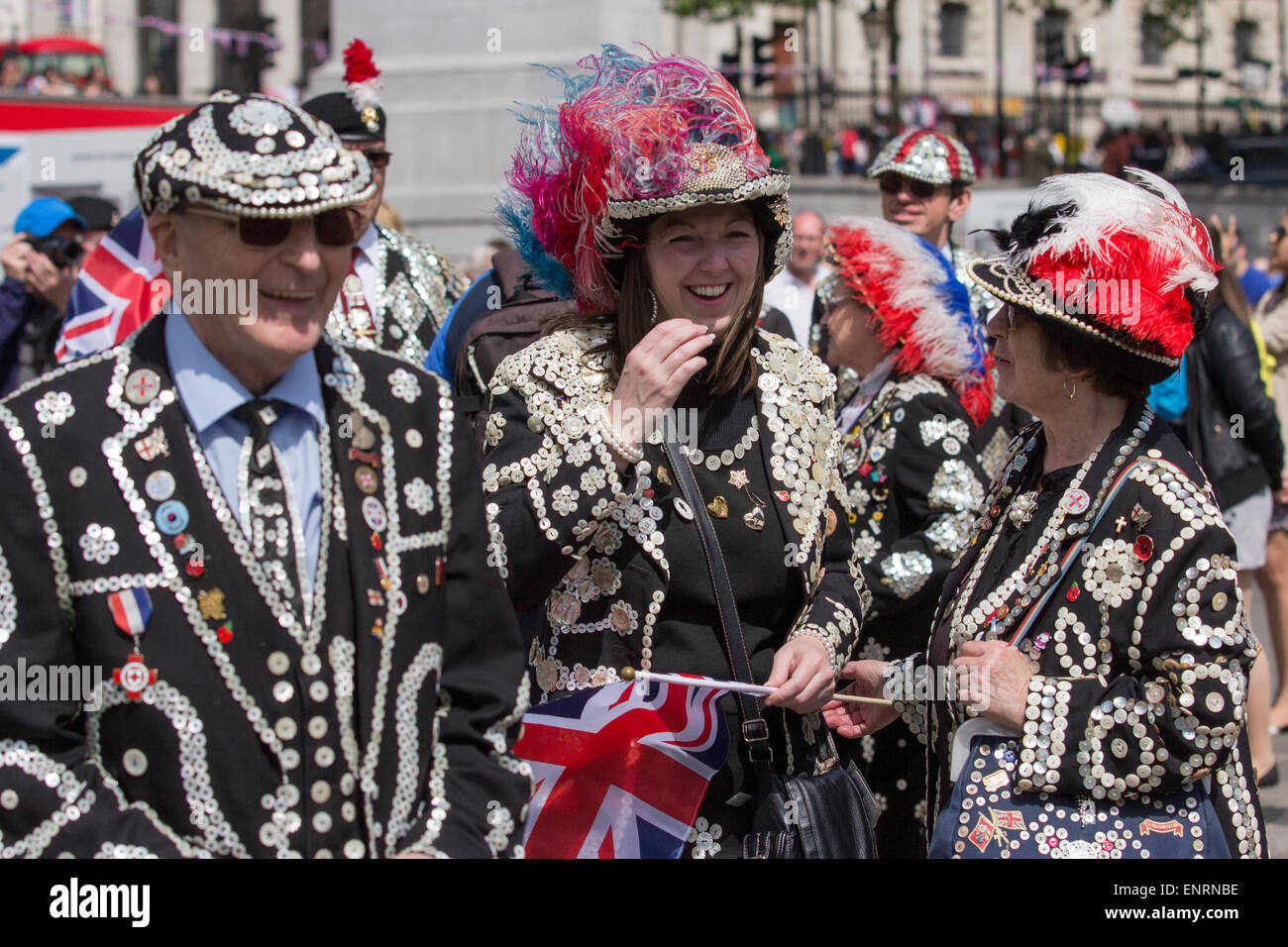VE Celebrations, Pearly King and Queens, Trafalgar Square - Stock Image