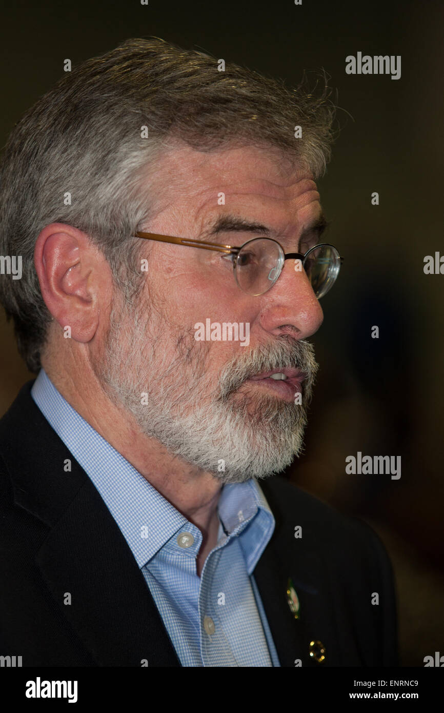 Belfast UK. 7th May 2015 General Election: Gerry Adams at Belfast election count in Kings Hall Belfast - Stock Image