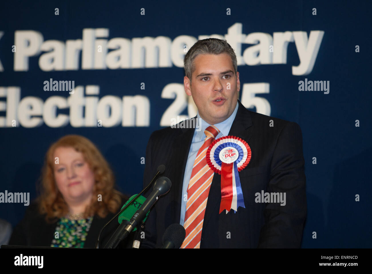 Belfast UK. 7th May 2015 General Election:  Gavin Robinson from the Democratic Unionist Party (DUP) giving his acceptance - Stock Image
