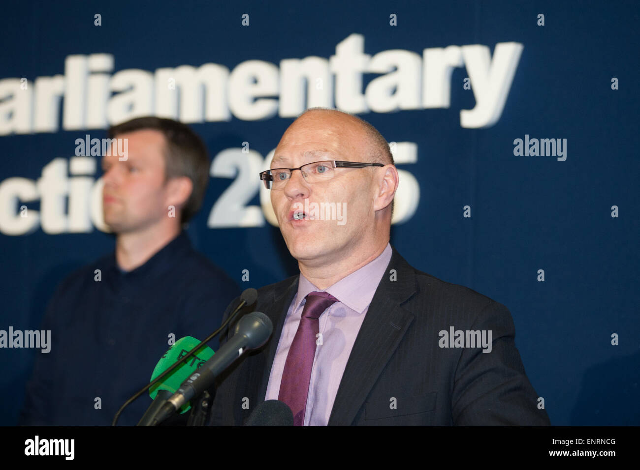 Belfast UK. 7th May 2015 General Election: Paul Maskey give his acceptance speech after winning the seat of Belfast - Stock Image