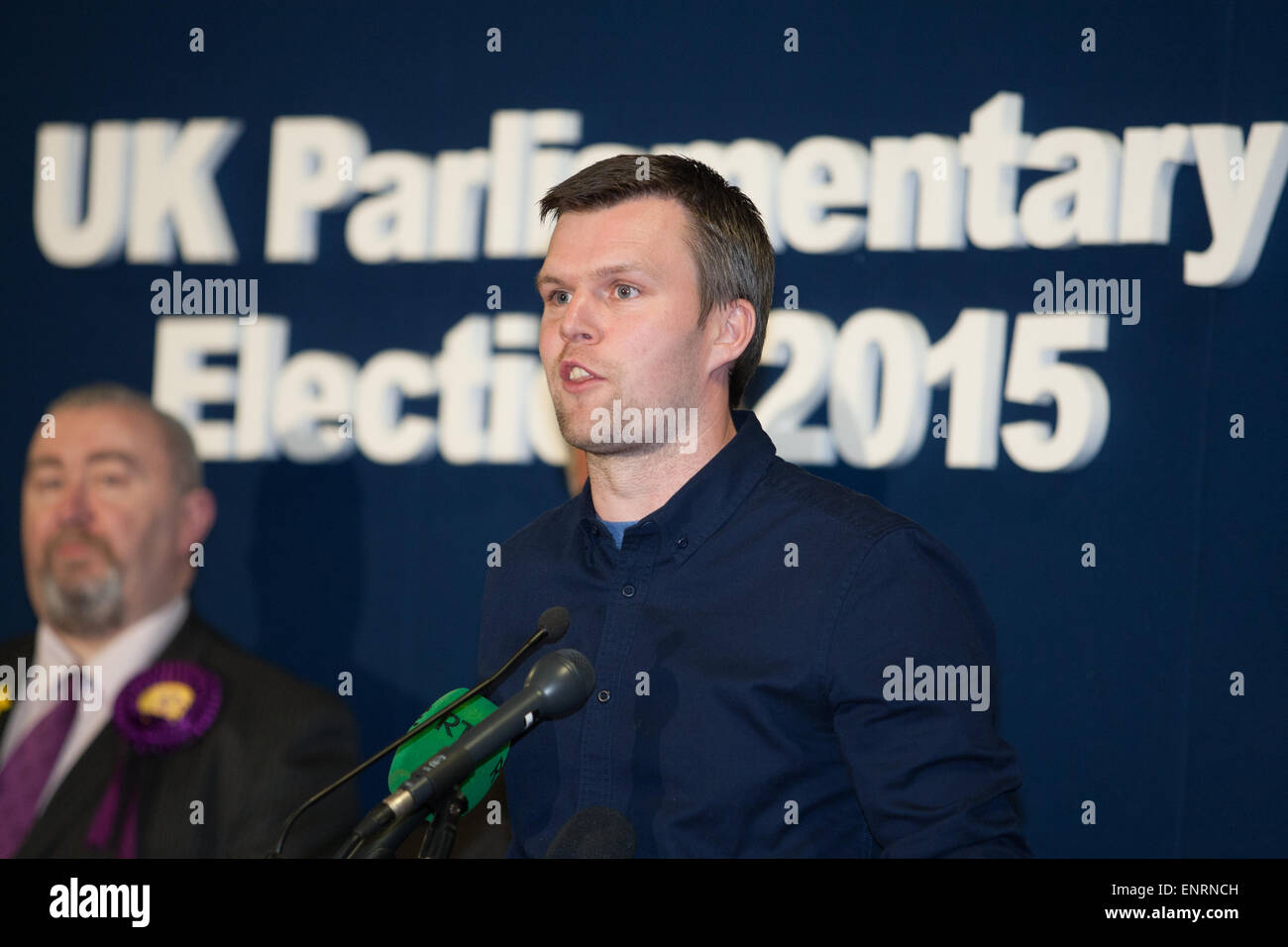 Belfast UK. 7th May 2015 General Election: Gerry Carroll from People Before Profit gives his speech after loosing - Stock Image