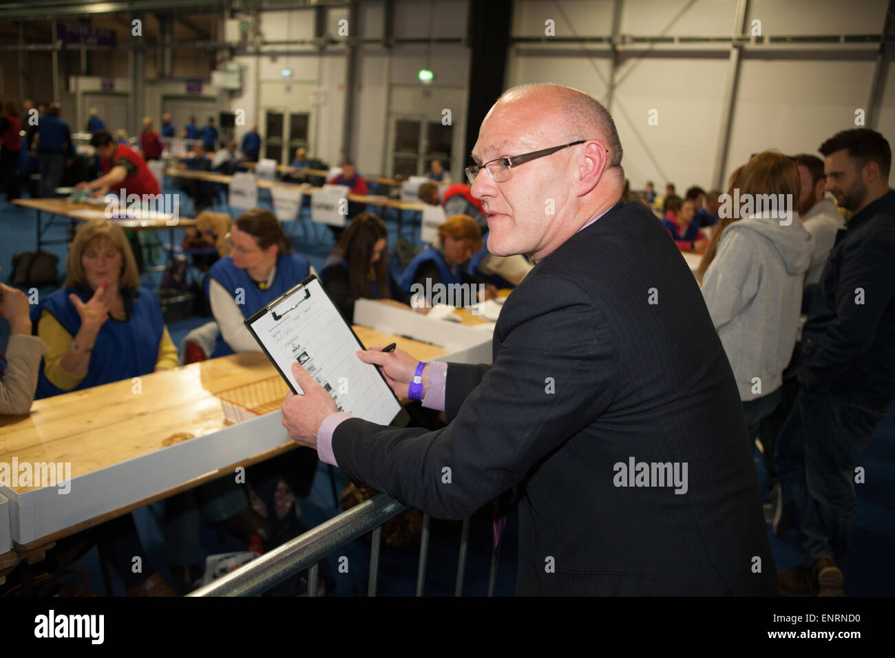 Belfast UK. 7th May 2015 General Election: Paul Maskey from Sinn Fein observes the count for the Constituency of - Stock Image