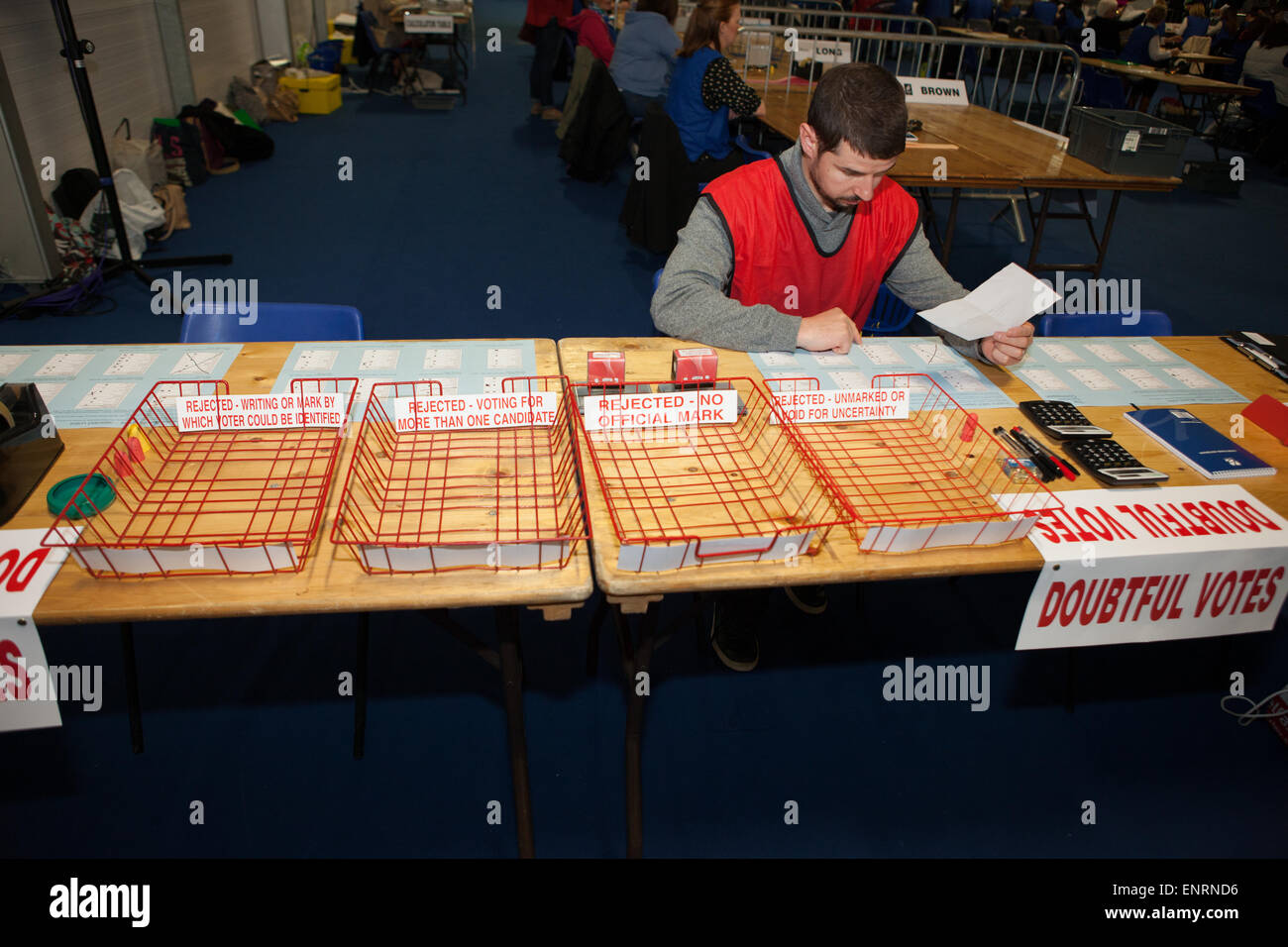 Belfast UK. 7th May 2015 General Election: one of the electoral staff before counting getsunderway at the doubtful - Stock Image