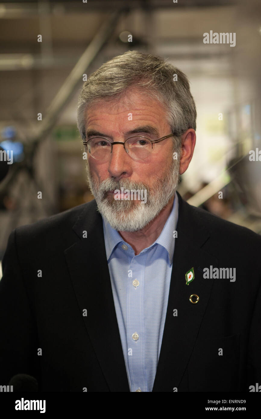 Belfast UK. 7th May 2015 General Election:  Gerry Adams (Sinn Fein) at the result count for Belfast in the UK Parliamentary - Stock Image