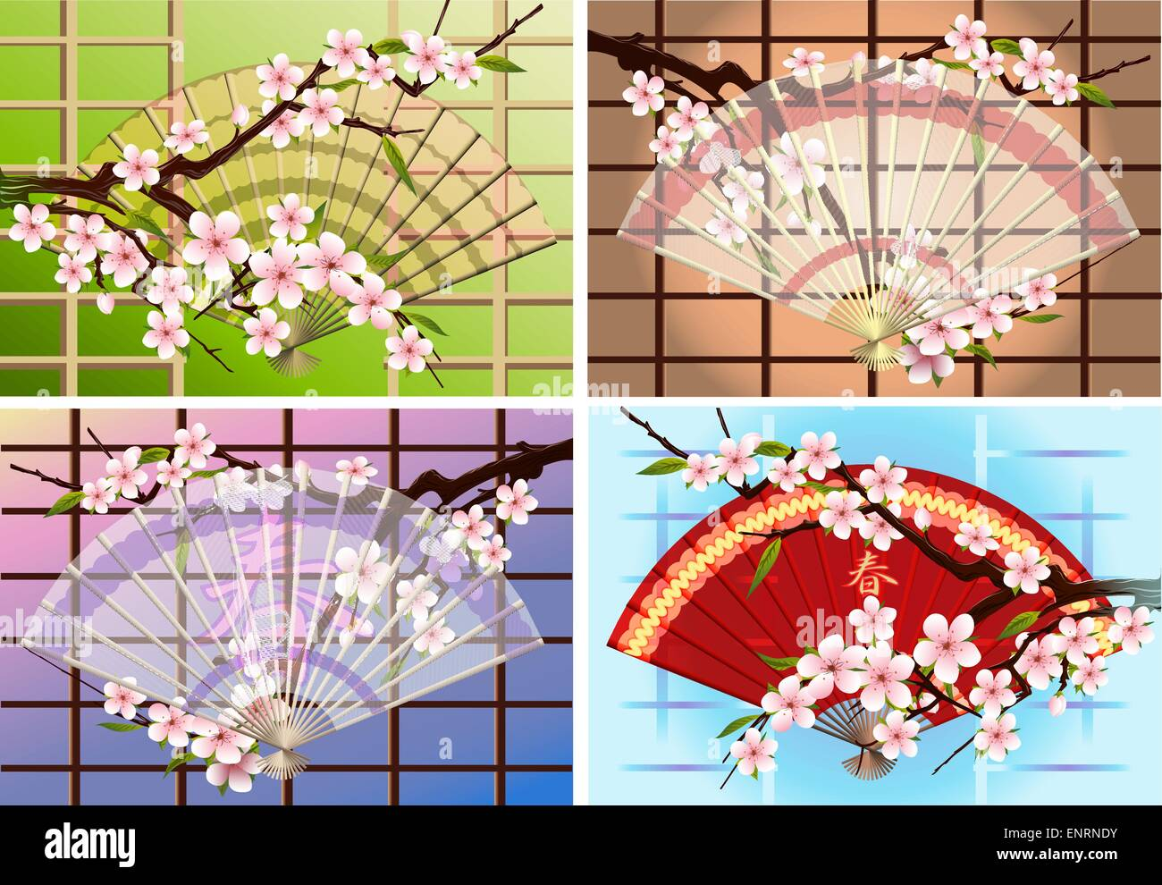 four Japanese fans with a blossoming branch of eastern cherry drawn against different color backgrounds - Stock Vector