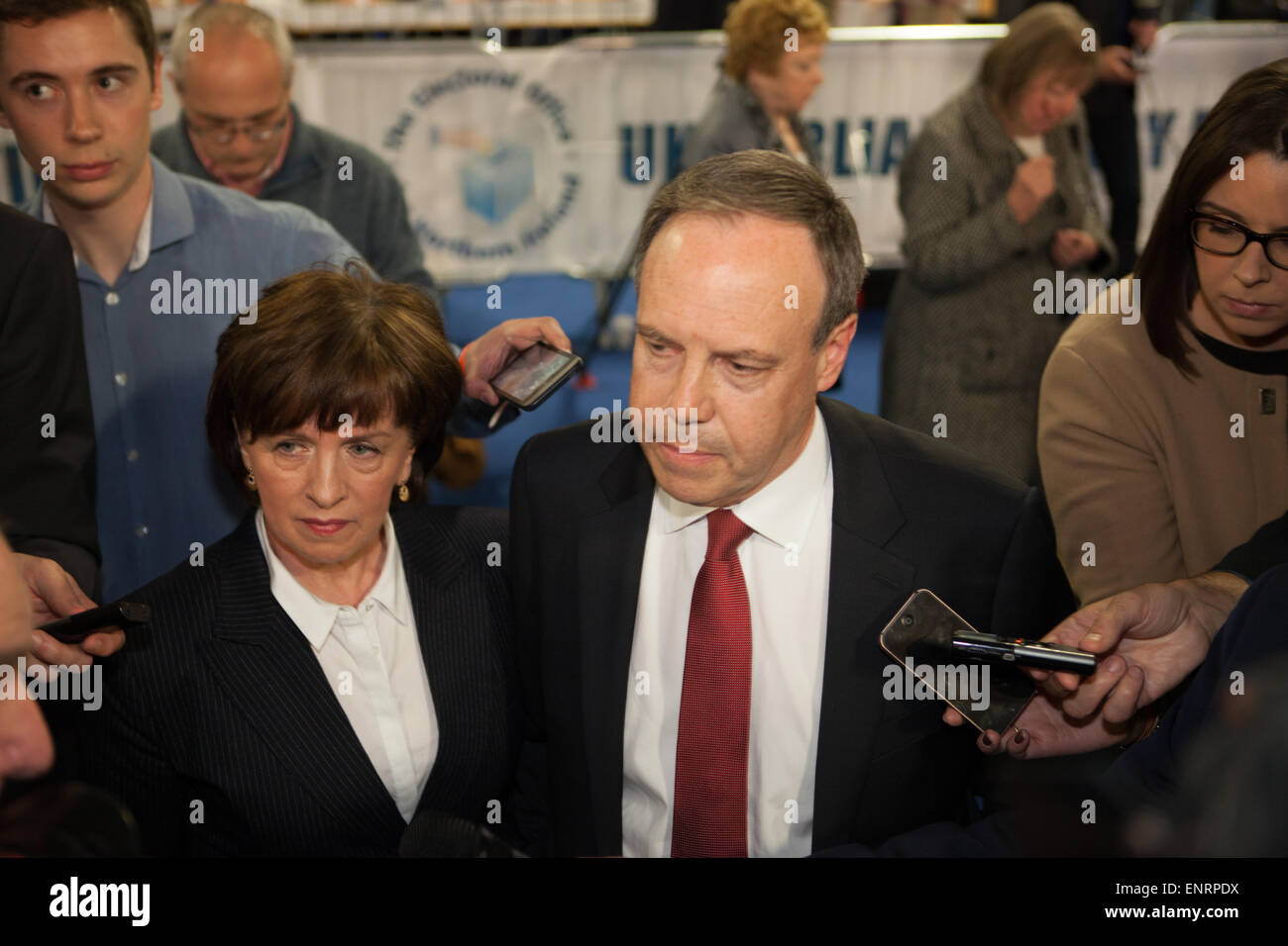 Belfast UK. 7th May 2015 General Election:  DUP Nigel Dodds with Diane arrives at the Result count for the seat - Stock Image