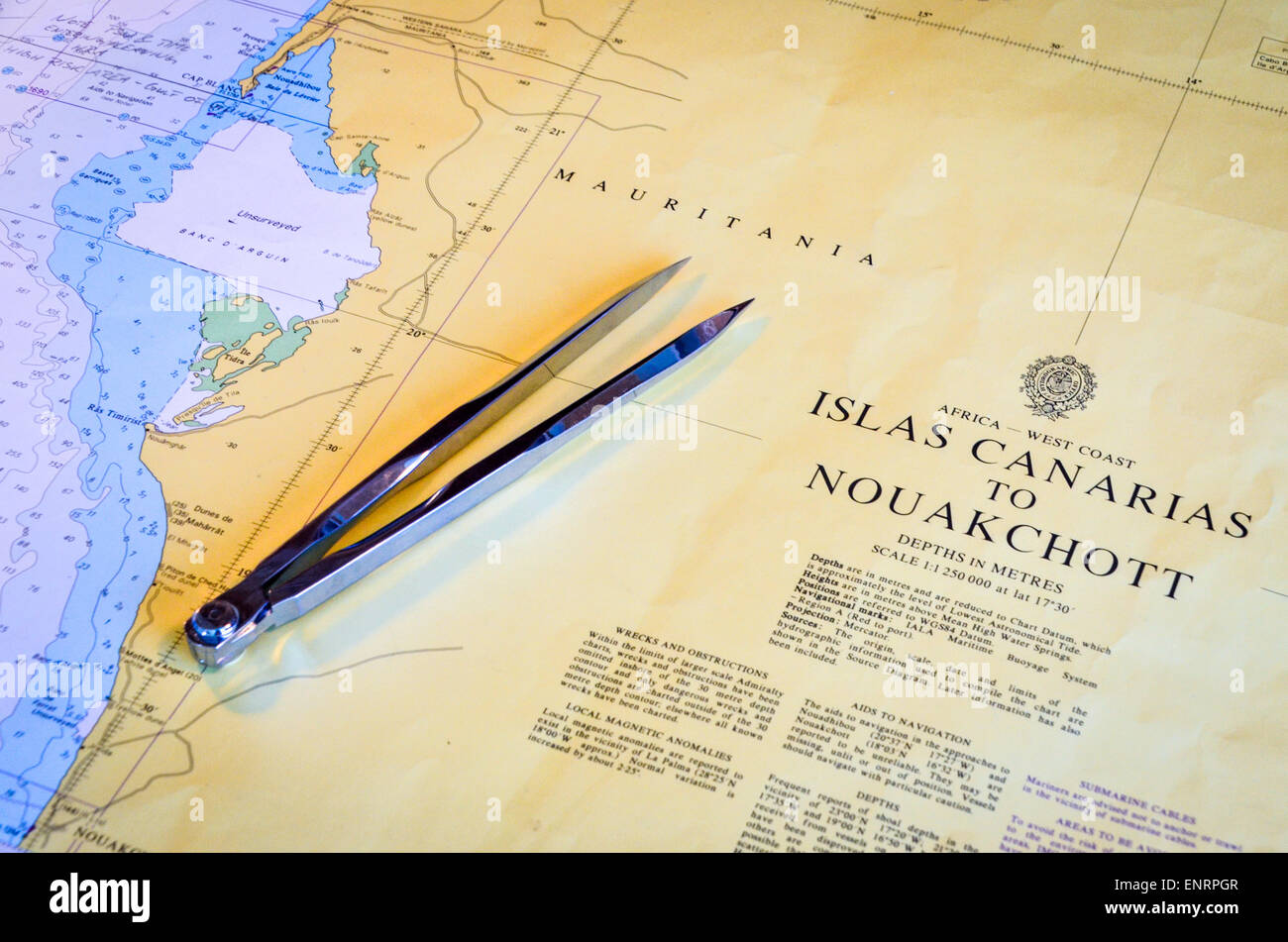 Compass and nautical chart of Mauritania, Africa - Stock Image