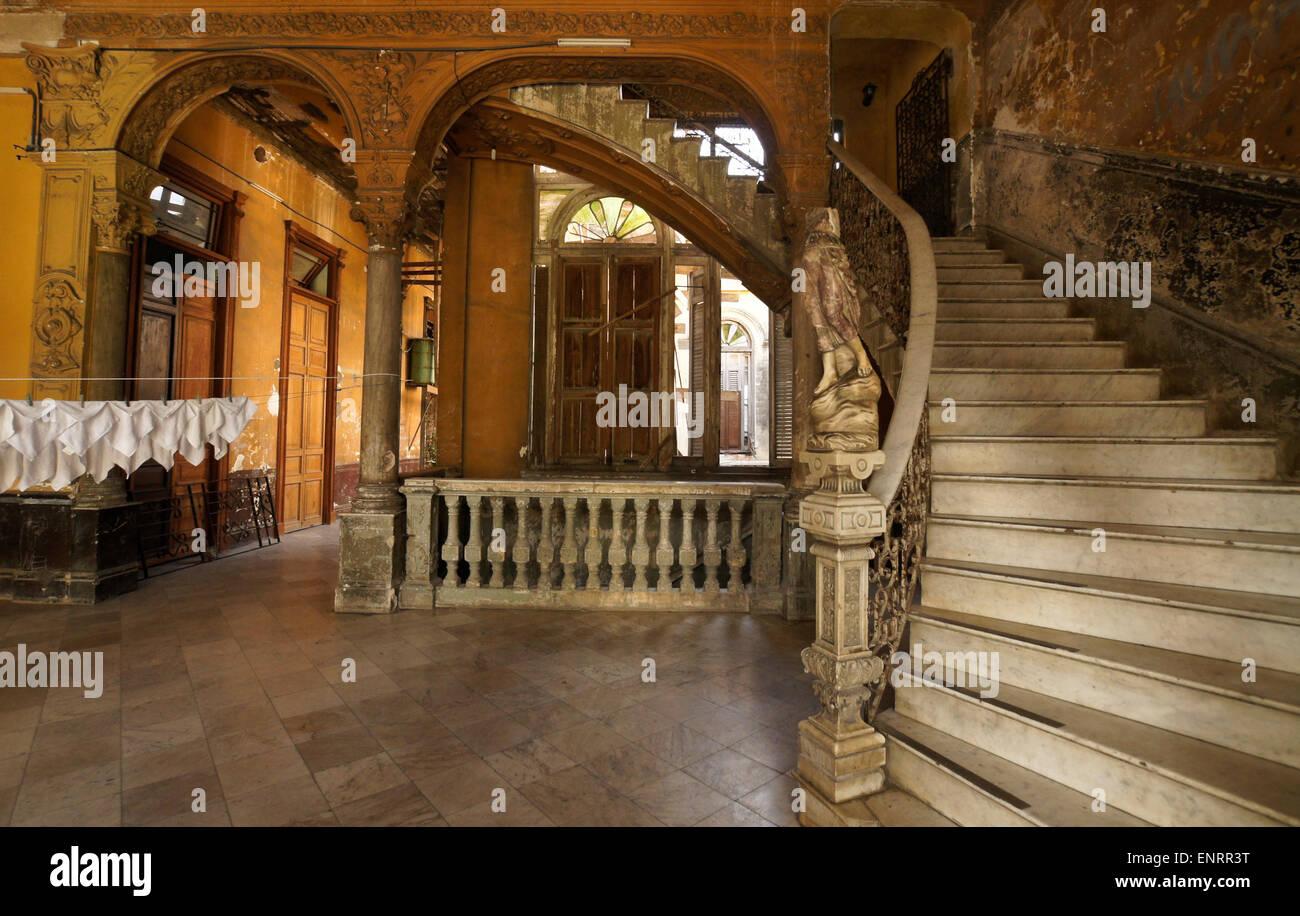 Rundown interior of La Mansion Camaguey (La Guarida building), Havana, Cuba - Stock Image