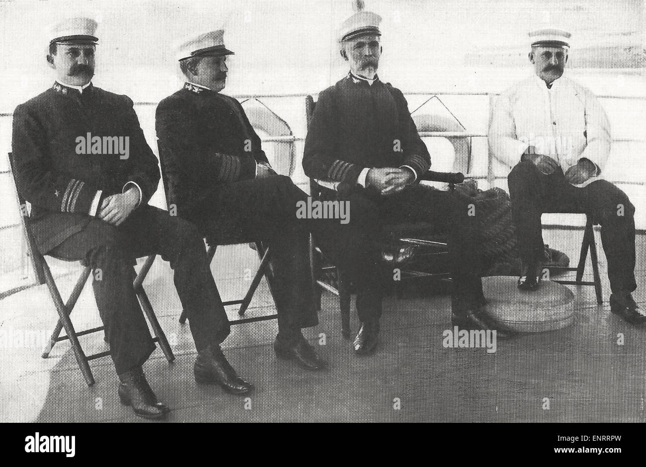 The members of the Court of Investigation on the Quarterdeck of the Lighthouse tender Mangrove, Havana, Cuba   Lieutenant - Stock Image