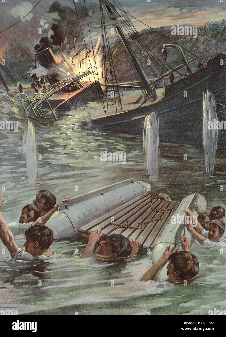 Assistant Naval Constructor Hobson's Heroic Exploit in blowing up the Collier Merrimac at the entrance to Santiago - Stock Image