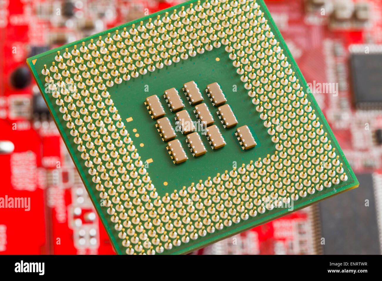 Computer CPU pins (CPU back, CPU rear view) - Stock Image