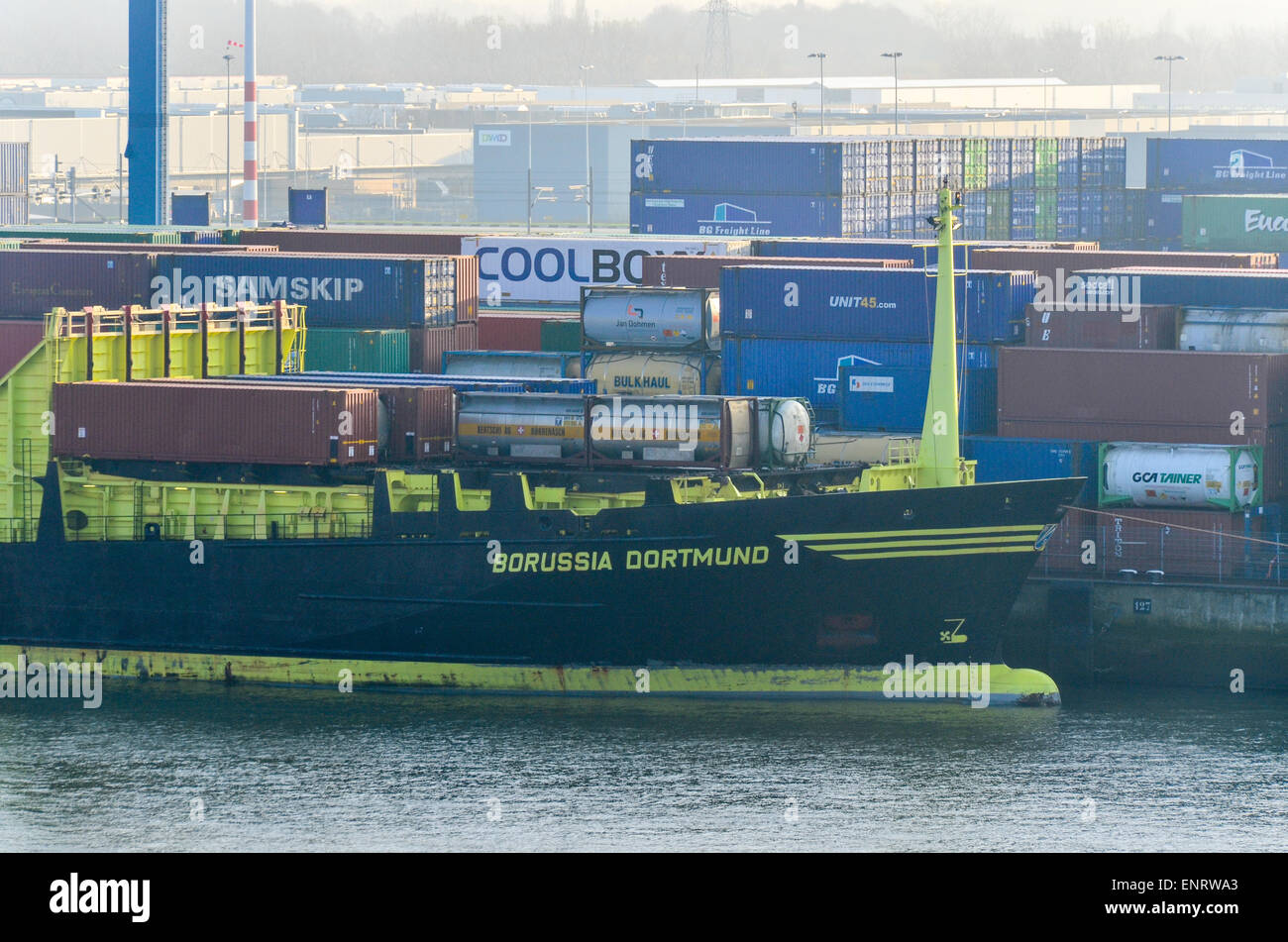 Borussia Dortmund ship docked in the port of Rotterdam, Netherlands - Stock Image