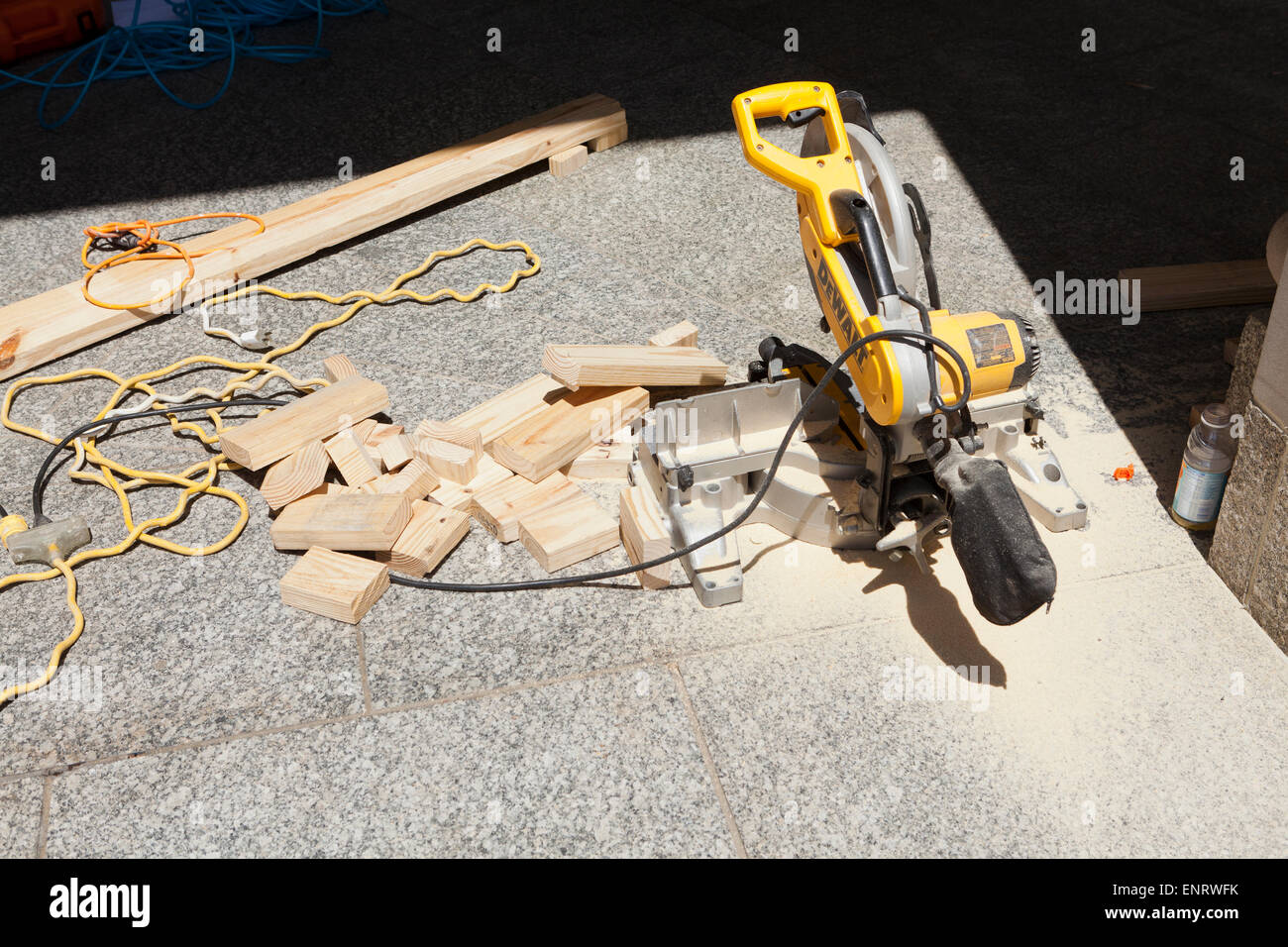Miter saw at construction site - USA Stock Photo