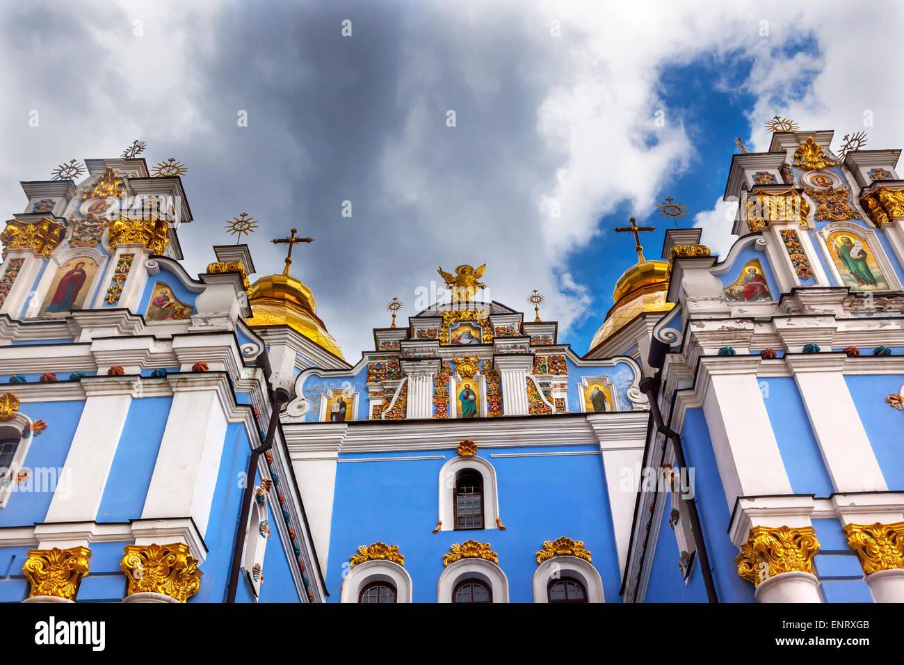 Saint Michael Monastery Cathedral Steeples Spires Facade Kiev Ukraine. - Stock Image