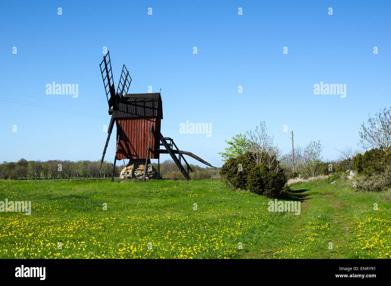 Old traditional wooden windmill at the swedish island Oland in the Baltic Sea - Stock Image