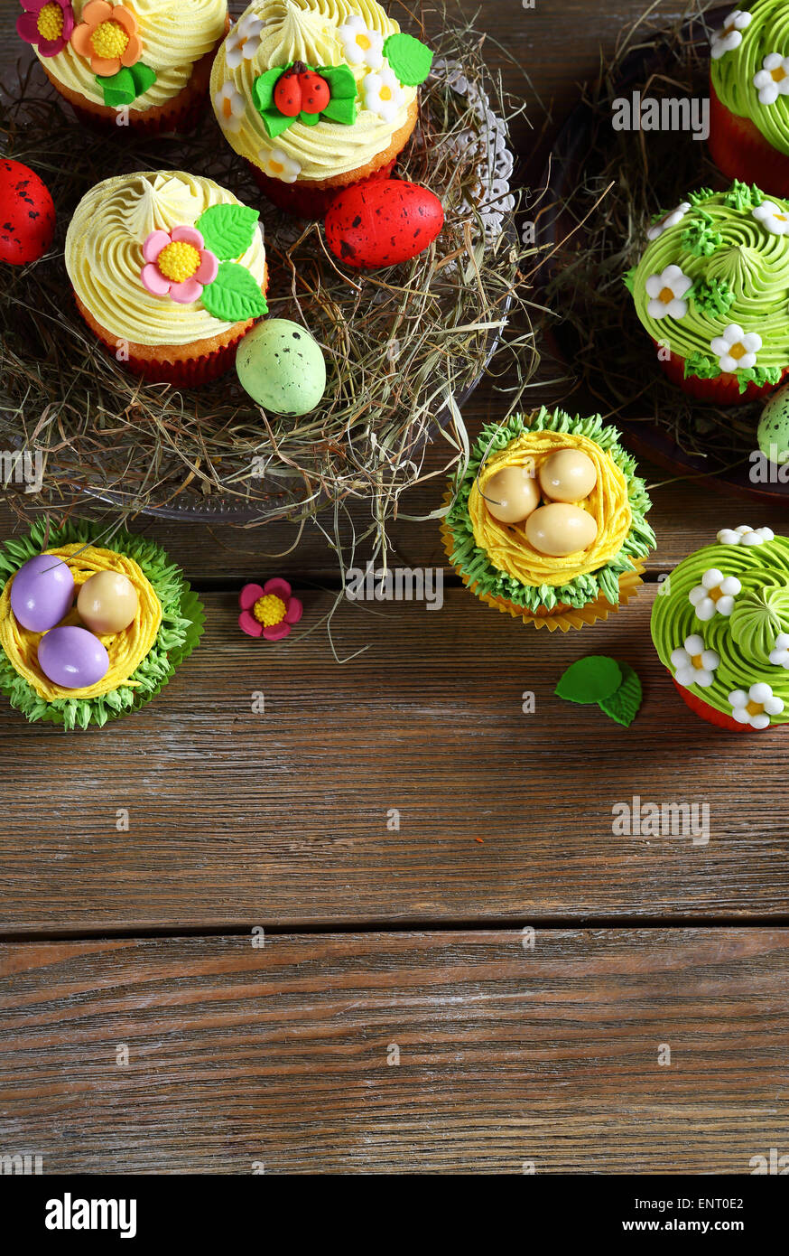 different types of Easter desserts, food closeup - Stock Image