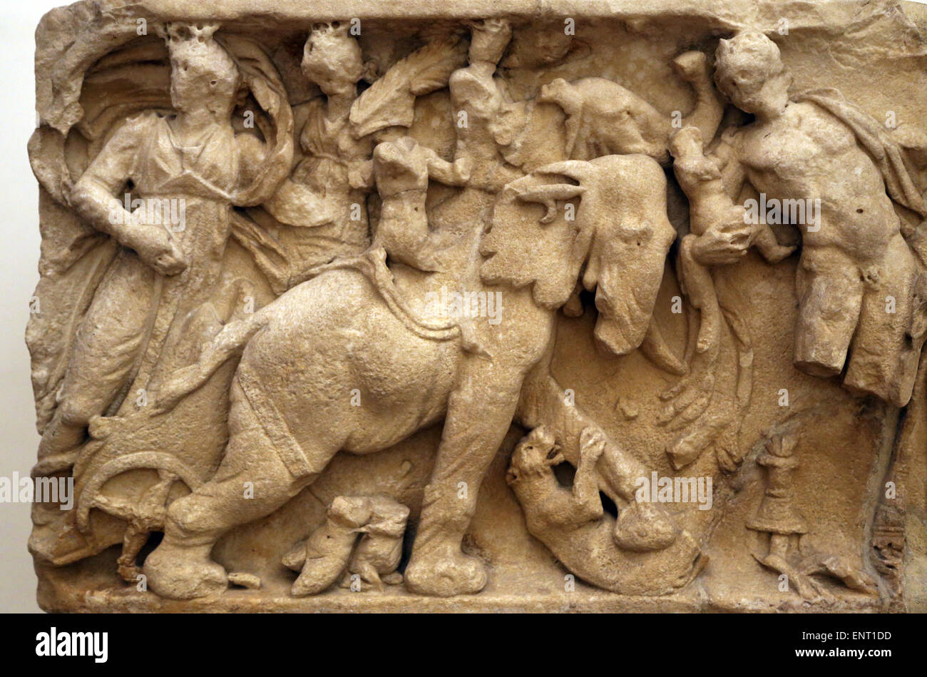 Dionysus courtship. Roman relief. Ludovisi Collection. National Roman Museum. Palazzo Altemps. Rome. Italy. - Stock Image