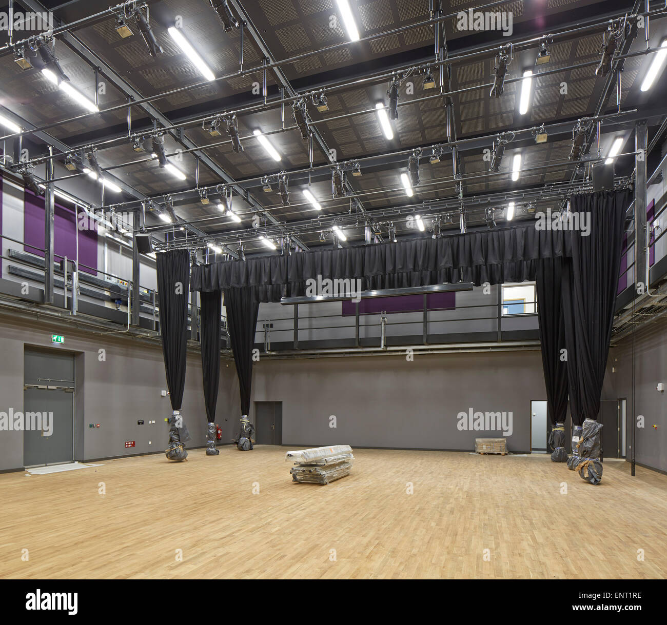 Multi-functional theatre space. Regent High School, London, United Kingdom. Architect: Walters and Cohen Ltd, 2015. - Stock Image