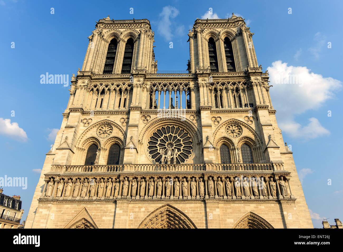 Notre Dame de Paris Cathedral, west facade, Ile de La Cité, Paris, France - Stock Image