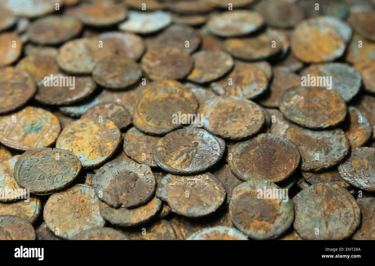 Bronze coins of the 4th century AD. Roman period. National Roman Museum. Palazzo Altemps. Rome. Italy. - Stock Image