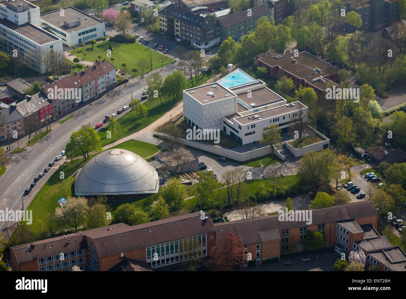 Synagogue with extension next to the Planetarium Bochum, Bochum, Ruhr district, North Rhine-Westphalia, Germany - Stock Image