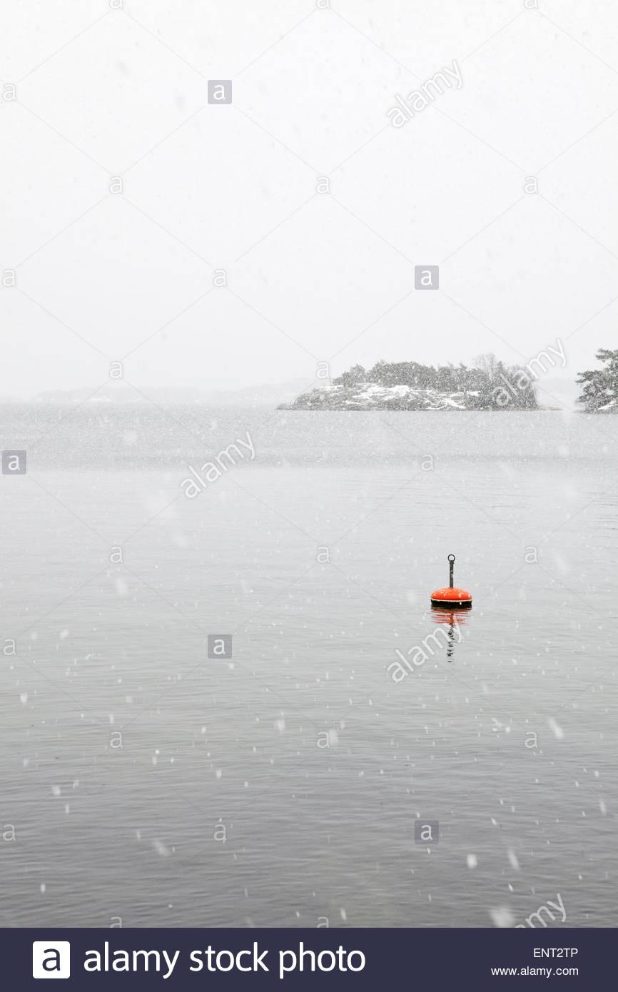Gray landscape, raining sleet - Stock Image