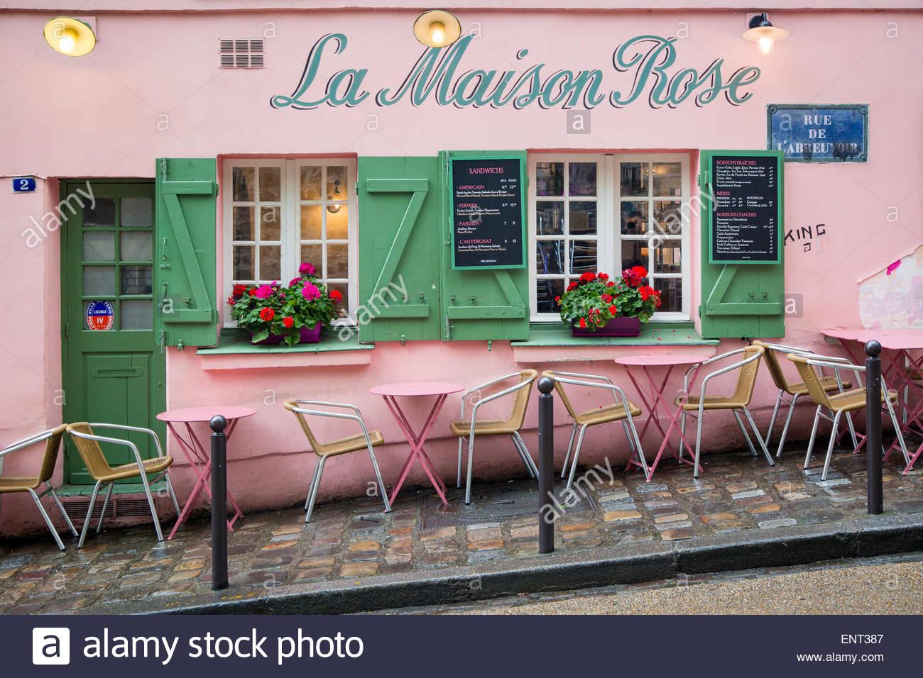 La maison rose restaurant stock photos