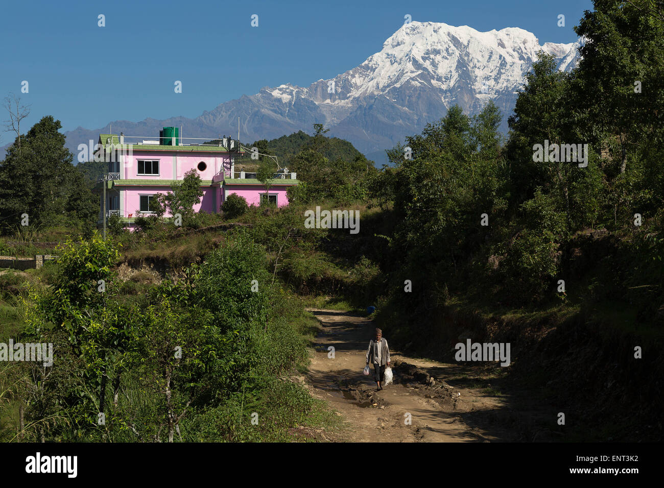 Walking under Annapurna South, Pokhara Area, Nepal - Stock Image