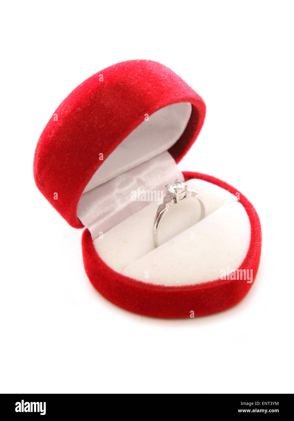 diamond engagement ring in heart box cutout - Stock Image