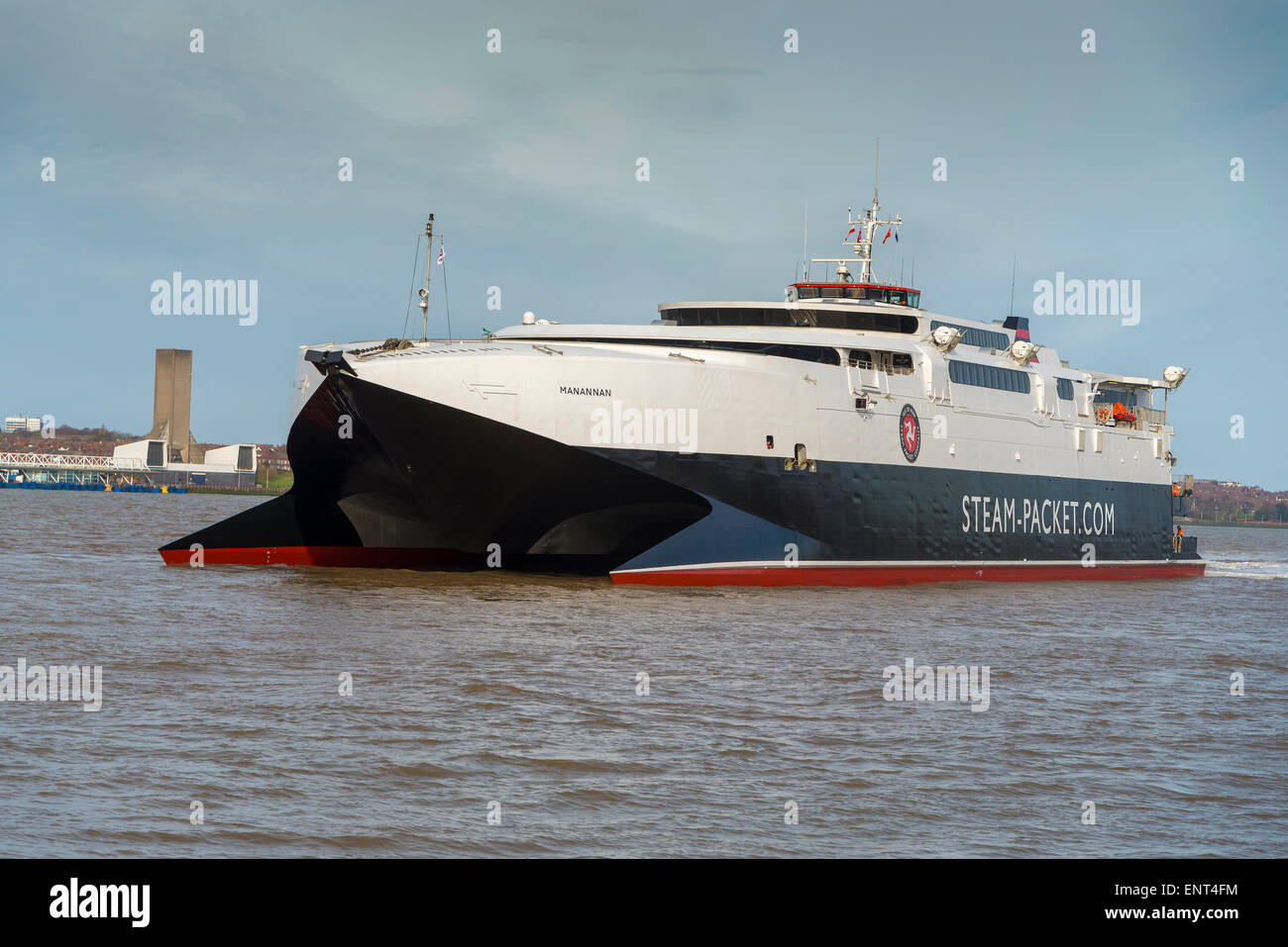 The Isle of Mann Steam Packet Company catamaran the Manannan in the river Mersey. IOMSP. High speed car ferry. - Stock Image