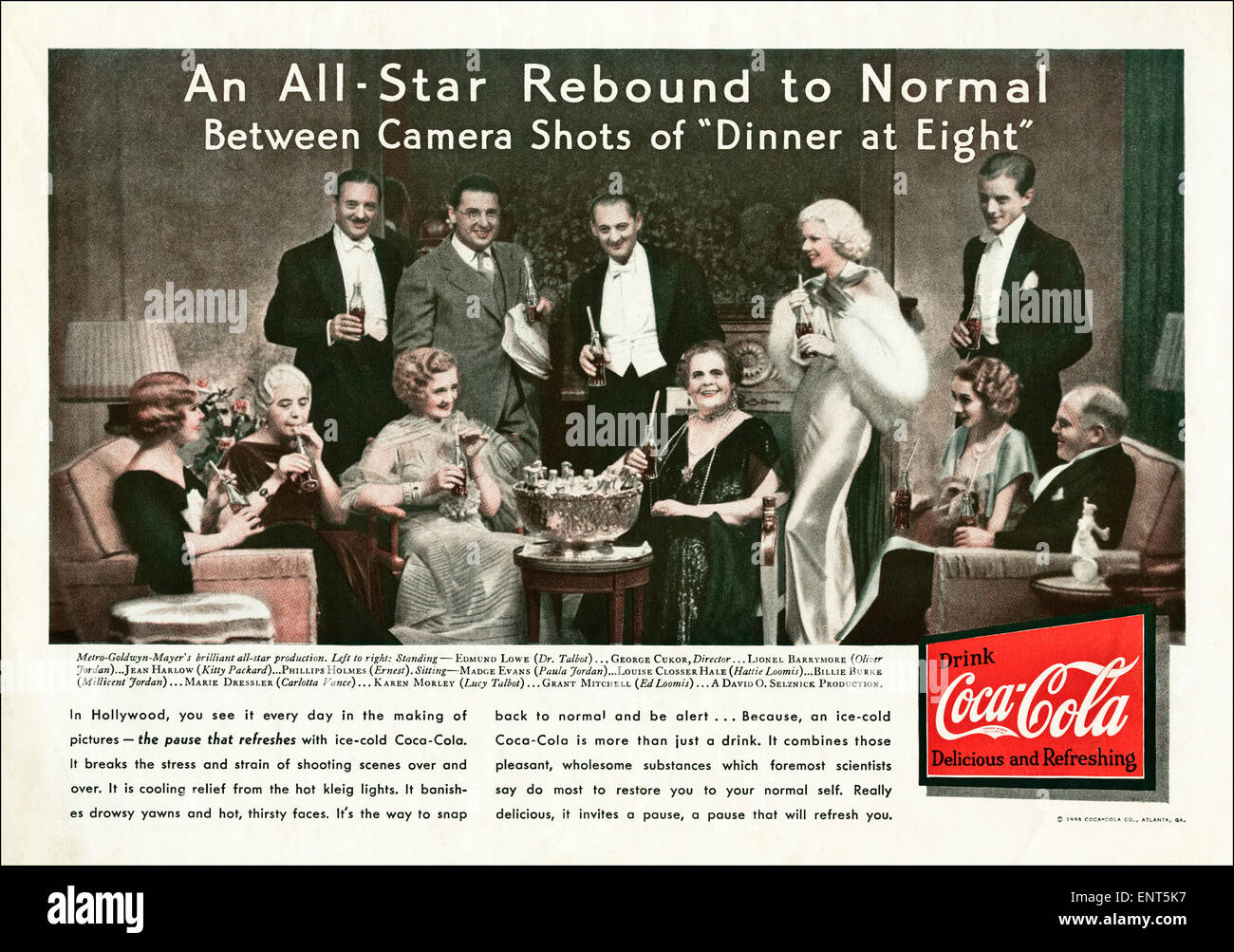 Vintage advert in 1930s American magazine dated November 1933 for COCA COLA featuring film stars of the period - Stock Image