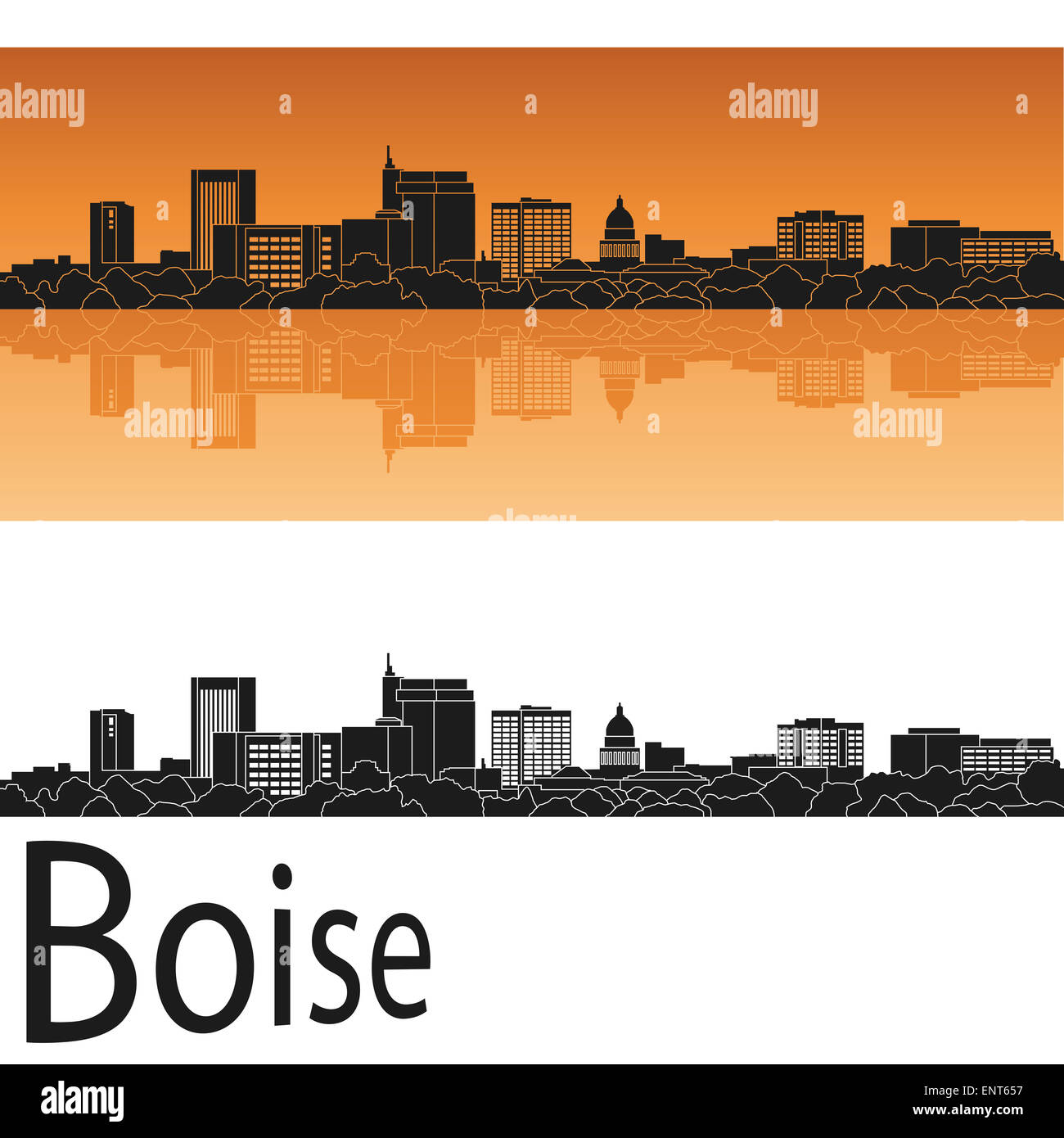 Boise skyline in orange - Stock Image