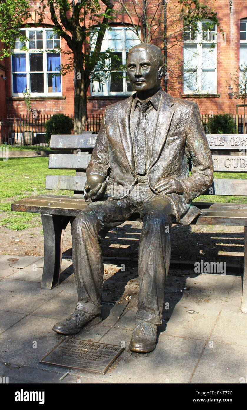Statue of Computer Scientist, Logician and Mathematician Alan Mathison Turing in Sackville Gardens, Manchester, - Stock Image