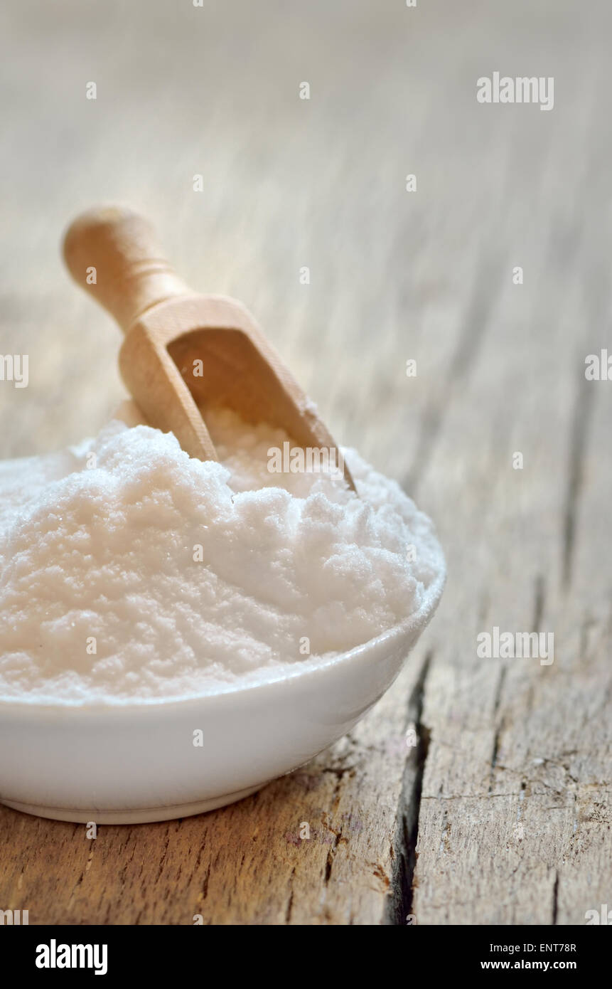 Close-up of baking soda. Bicarbonate of soda. - Stock Image