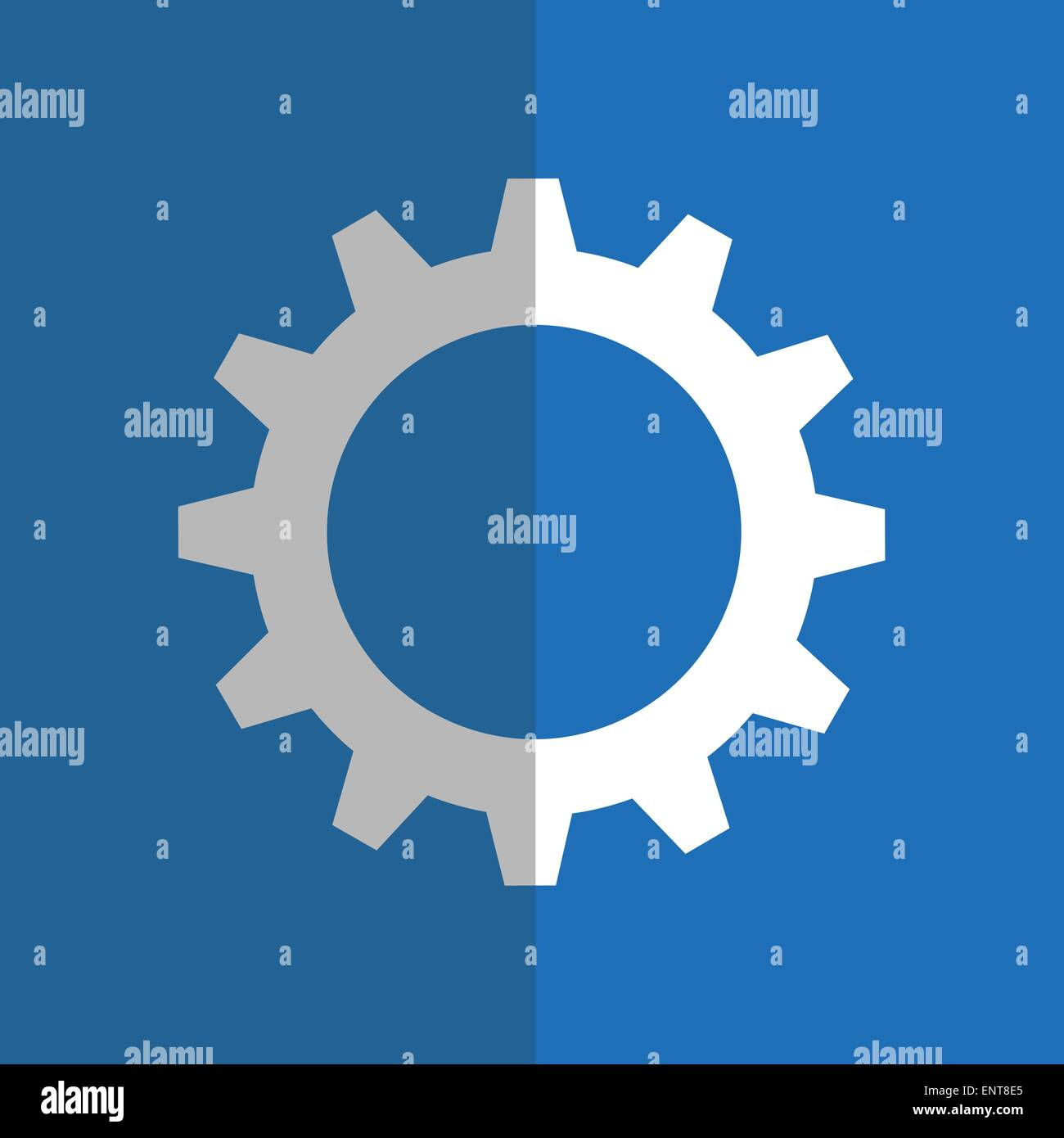 White gearwheel on blue background - Stock Image