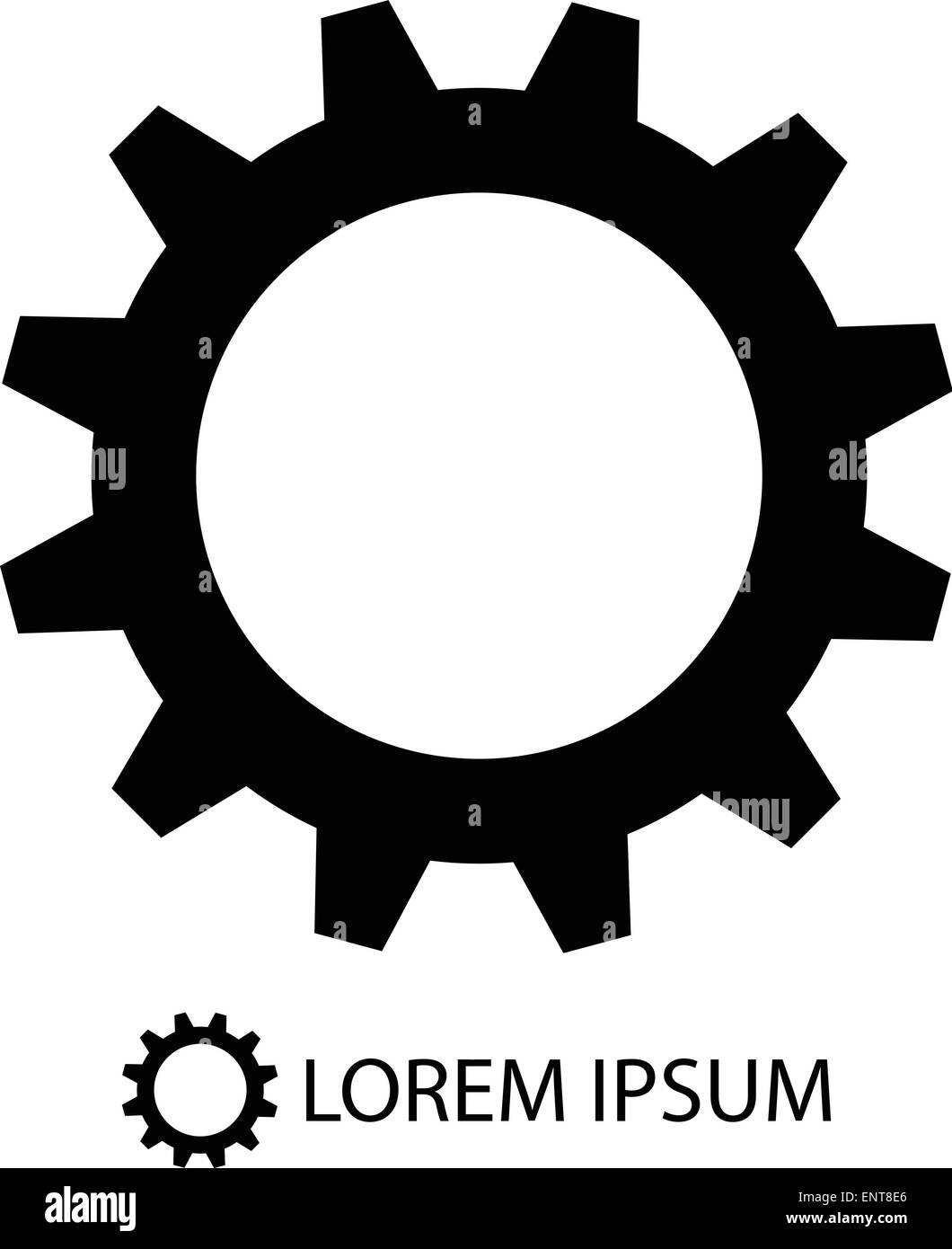 Black gearwheel on white background - Stock Image